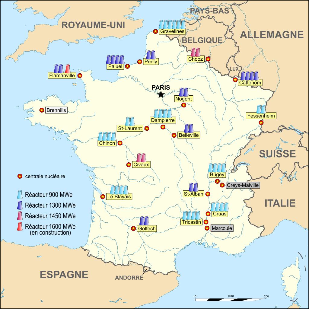 nucléaire en france réacteurs centrales carte